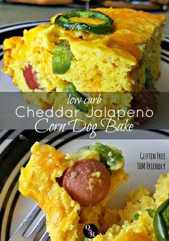 Low Carb Cheddar Jalapeno Corn Dog Bake - THM Friendly