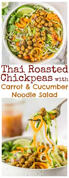 Thai Roasted Chickpeas with Cucumber & Carrot Noodle Salad