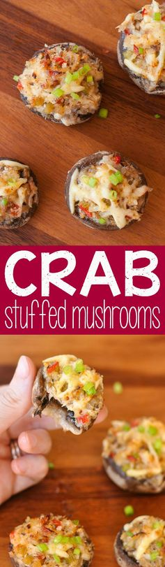 Crab Stuffed Mushrooms with Garlic and Gouda