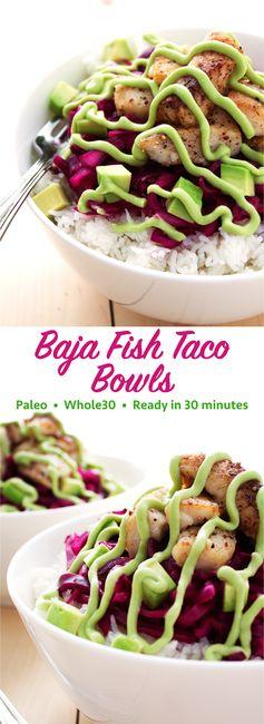 Paleo Baja Fish Taco Bowls