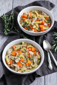 Comforting & Healthy Slow Cooker Chicken Noodle Soup (with a hint of lemon & rosemary