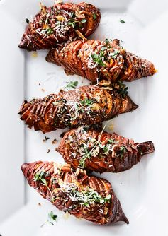 Hasselback Sweet Potatoes with Thyme, Pecans and Parmesan
