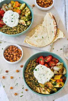 Middle Eastern Grilled Vegetable & Lentil Bowl By Apples and Sparkle