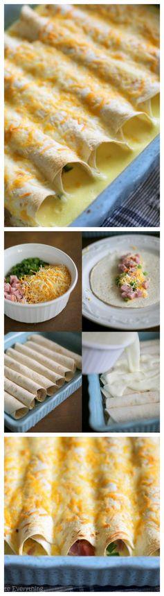 Overnight Ham and Cheese Breakfast Enchiladas