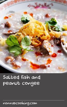 Salted fish and peanut congee