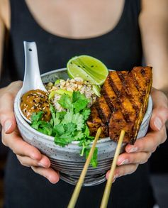 Tofu Satay with cauliflower rice
