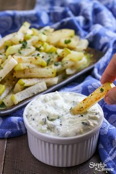 Baked Kohlrabi Fries with Greek Tzatziki