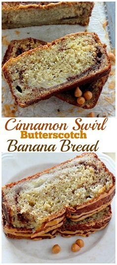 Brown Sugar Cinnamon Swirl Butterscotch Banana Bread