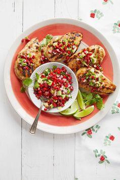 Chili-Garlic Grilled Chicken with Avocado-Cherry Salsa