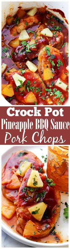 Crock Pot Pineapple Barbecue Sauce Pork Chops