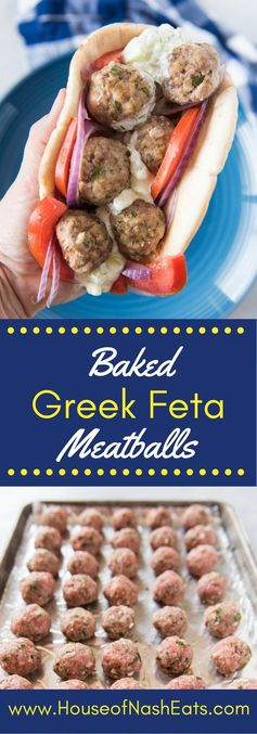 Greek Feta Meatball Gyro Sandwiches