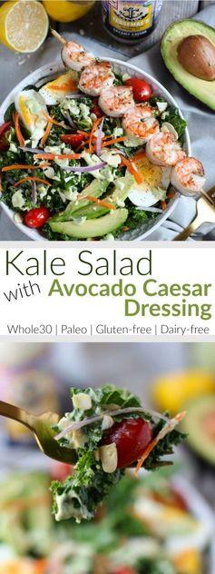 Kale Salad with Avocado Caesar Dressing