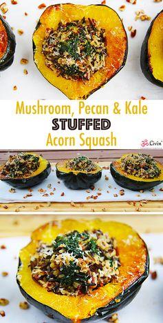 Mushroom Pecan & Kale Stuffed Squash