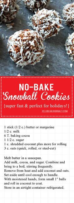 No-bake Snowball Cookies