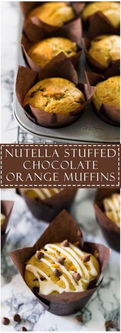 Nutella Stuffed Chocolate Orange Muffins