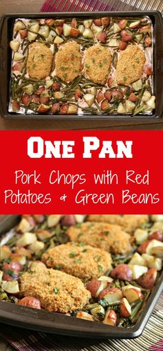 One Pan Pork Chops with Red Potatoes & Green Beans