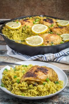 One Pot Lemon Garlic Chicken with Yellow Rice