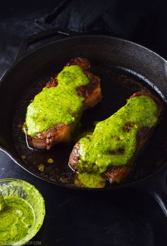 Pan-Seared Sirloin Steak with Chimichurri Sauce