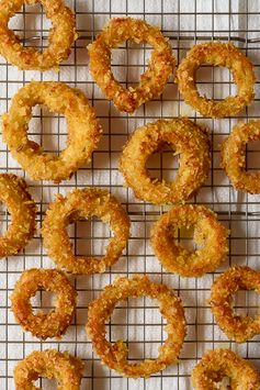 Potato Chip Crusted Baked Onion Rings