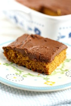 Pumpkin Sheet Cake with Chocolate Frosting (Vegan, Gluten Free