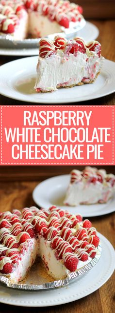 Raspberry White Chocolate Cheesecake Pie