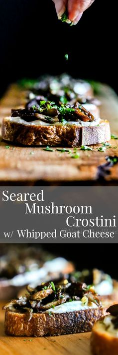 Seared Mushroom Crostini with Herb-Whipped Goat Cheese