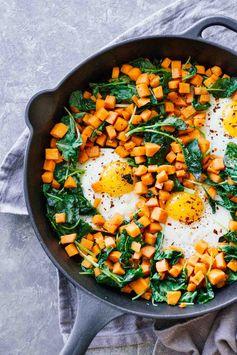 Skillet Sweet Potato & Kale Hash