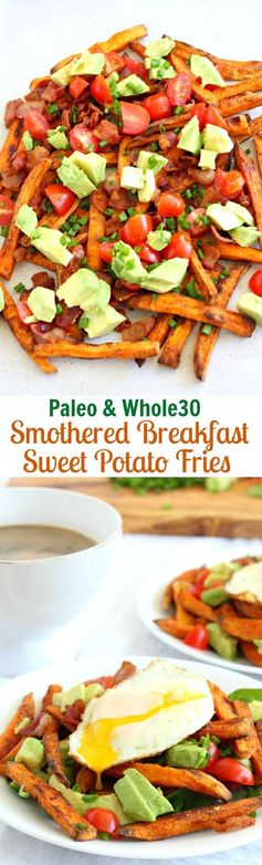 Smothered Breakfast Sweet Potato Fries (Paleo & Whole30