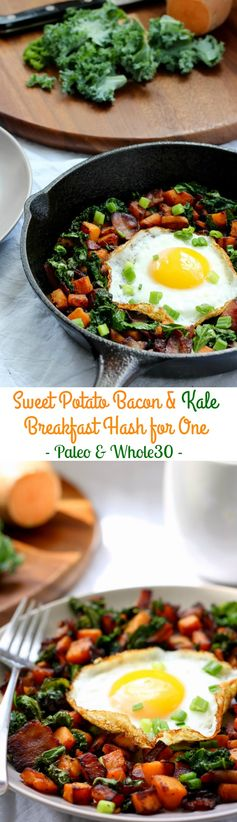 Sweet Potato Bacon Kale Hash for One (Paleo & Whole30