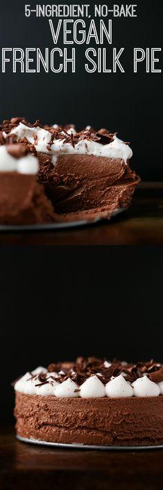 5-Ingredient, No-Bake Vegan French Silk Pie