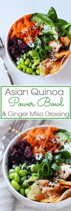 Asian Quinoa Power Bowl with Ginger Miso Dressing (Vegan