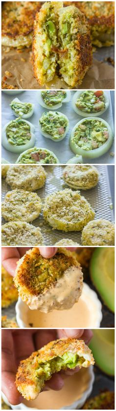 Baked Guacamole Stuffed Onion Rings with Chipotle Dipping Sauce