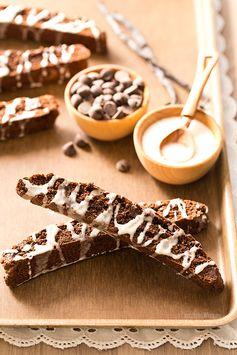 Brownie Biscotti with Vanilla Bean Glaze