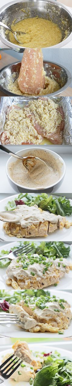 Cauliflower and Parm Crusted Chicken with Curry Yogurt Sauce