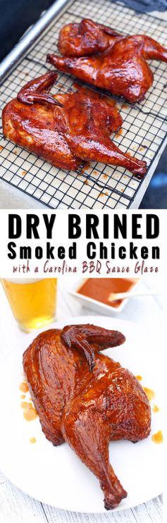 Dry Brine Smoked Chicken with a Carolina Glaze