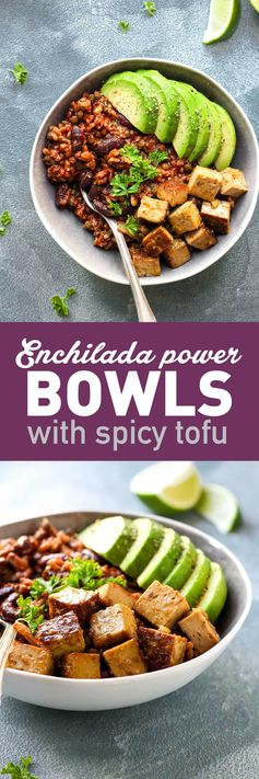 Enchilada Power Bowls with Spicy Tofu