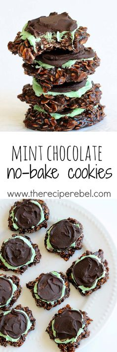 Fudgy Mint Chocolate No-Bake Cookies