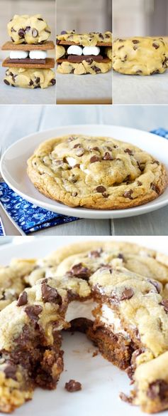 Giant S'mores Stuffed Chocolate Chip Cookies