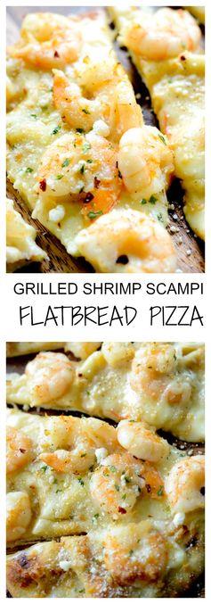 Grilled Shrimp Scampi Flat Bread Pizza