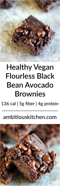 Healthy Flourless Black Bean Avocado Brownies (vegan and gluten free