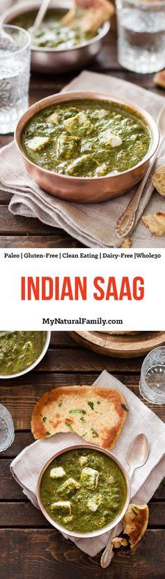 Indian Saag Paneer Recipe (Clean Eating, Gluten Free, Vegetarian