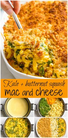 Kale and butternut squash mac and cheese