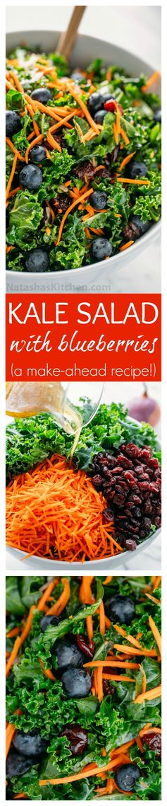 Kale Salad with Blueberries (make-ahead