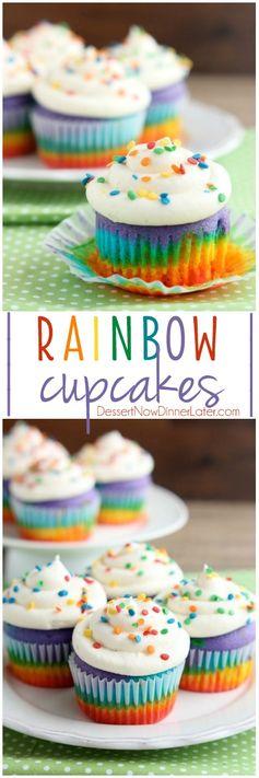 Layered Rainbow Cupcakes
