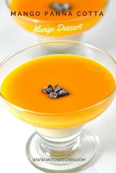 Mango panna cotta recipe with mango puree in 10 mins