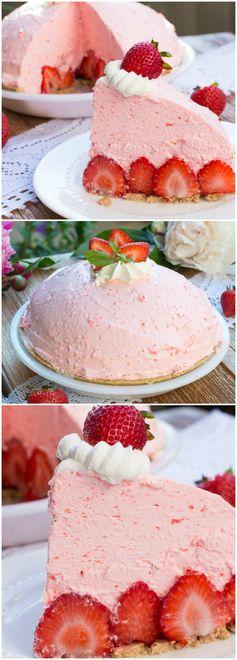 No Bake Strawberry Cheesecake Pie
