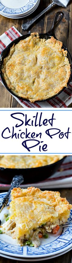 One Dish Chicken Pot Pie with Cheddar Crust