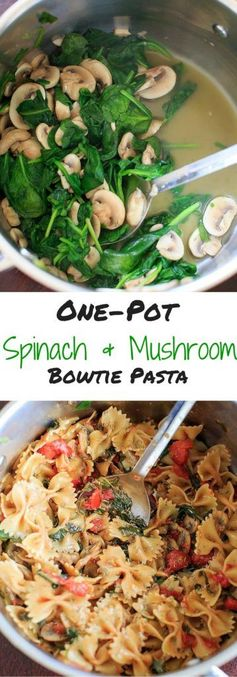 One Pot Spinach and Mushroom Bowtie Pasta