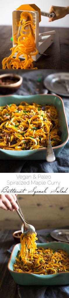 Paleo & Vegan Curried Butternut Squash Salad with Apples, Dates and Pecans