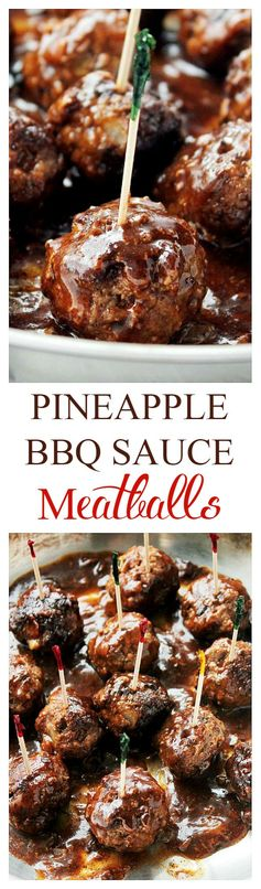 Pineapple Barbecue Sauce Glazed Meatballs